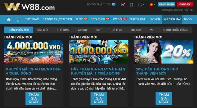 Chào mừng thành viên mới thưởng 100% lên tới 4.000.000VND tại W88